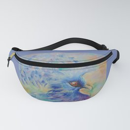 BLUE BIRD Impressionistic painting Pastel colors Fanny Pack