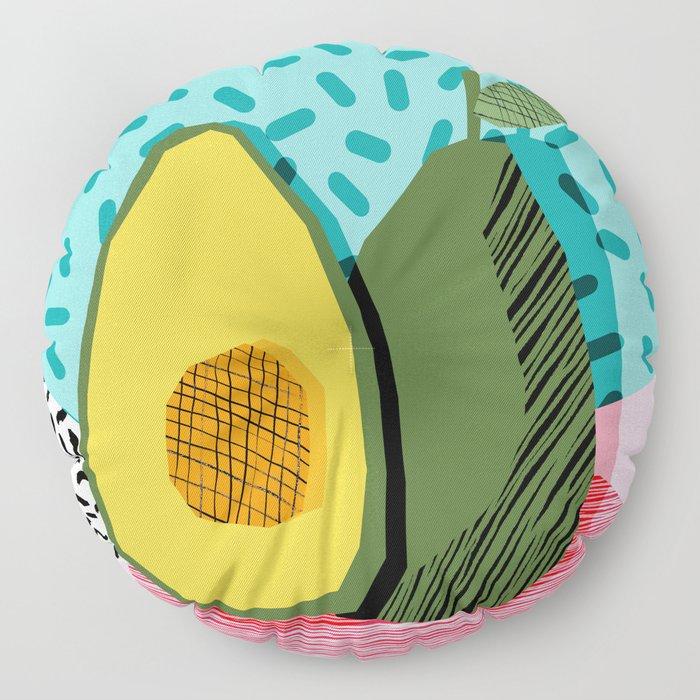 Choice - wacka memphis throwback retro neon fruit avocado vegetable vegan vegetarian art decor Floor Pillow