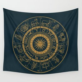 Vintage Zodiac & Astrology Chart | Royal Blue & Gold Wall Tapestry