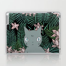 Cat with Palm Tree Leaves Laptop & iPad Skin