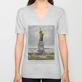 Statue of Liberty Historical Lithograph (1886) Unisex V-Neck