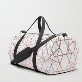 Geometric modern abstract stripes lines rose gold white marble pattern Duffle Bag
