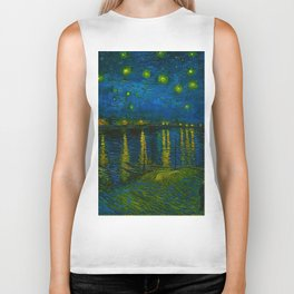Starry Night Over the Rhône 1888 oil on canvas by Vincent van Gogh Biker Tank