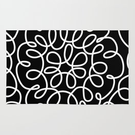 Hand drawn flower doodle circles Rug