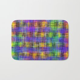 plaid pattern abstract texture in purple yellow green Bath Mat