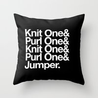 knitting Throw Pillows featuring Knitting by Outside In