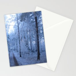 Frosty blue forest path Stationery Cards