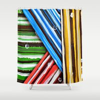 striped Shower Curtains featuring Striped Planes by Claudia McBain