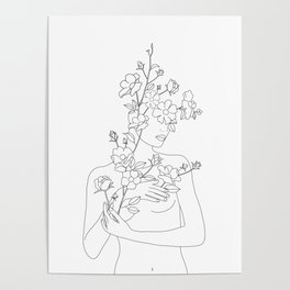 Minimal Line Art Woman with Wild Roses Poster