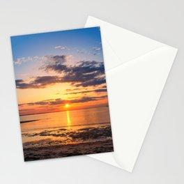 Sunset Breakwater Lighthouse Coastal Landscape Stationery Cards