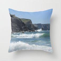 White Surf 01 Throw Pillow