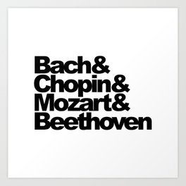 Bach and Chopin and Mozart and Beethoven, sticker, circle, white Art Print