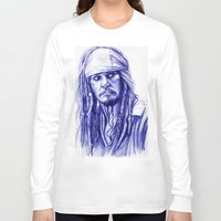 jack sparrow Long Sleeve T-shirts featuring Jack Sparrow by Luna Perri