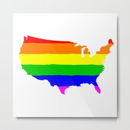 United States Gay Pride Flag Metal Print