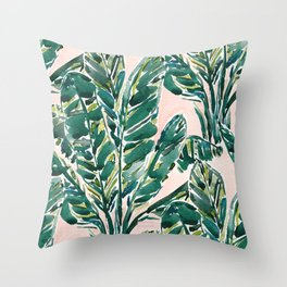 BIG FEELINGS Banana Leaf Tropical Throw Pillow