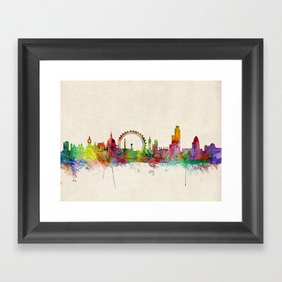 London Skyline Watercolor Framed Art Print