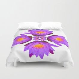 Purple Lily Flower - On White Duvet Cover