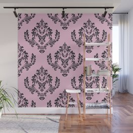 Damask Black on Pink Wall Mural