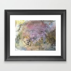 baby monster and shady guys Framed Art Print