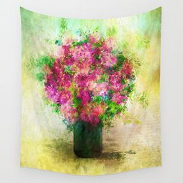 Roses and Wildflowers in Mason Jar Wall Tapestry