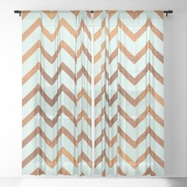 Mint With Blush Rose Gold Sheer Curtain