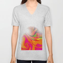 Re-Created  Tsunami FIVE by Robert S. Lee Unisex V-Neck