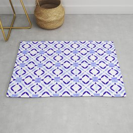 Art Deco Tile Pattern Cerulean and Blue On White Rug
