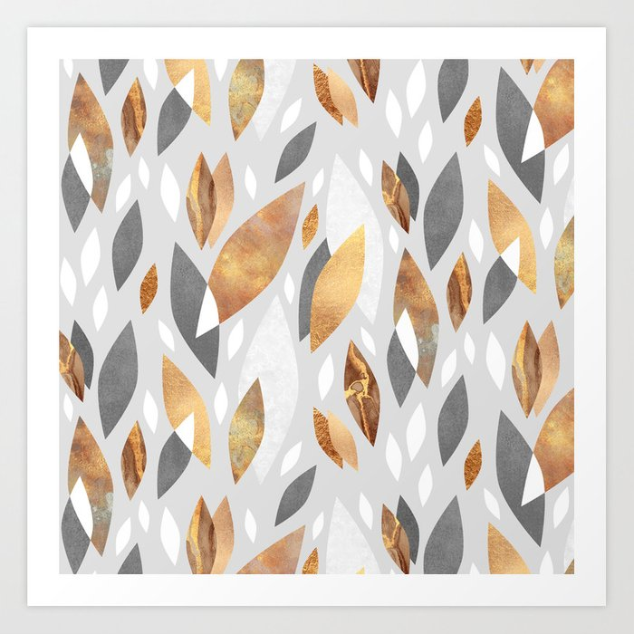 Falling Gold Leaves Art Print