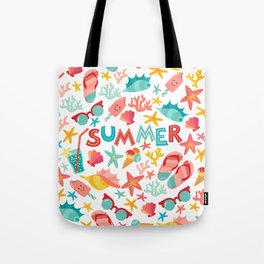 Summer seamless pattern with ice-cream, suglases, cocktail,  starfish, coral, flip flop sandals. Vac Tote Bag