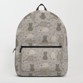 Grey and Brown Cat Stitched Mouse Vector Pattern Backpack