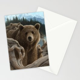 Brown Bear With Cubs - Backpacking Stationery Cards