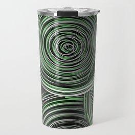 Black, white and green spiraled coils Travel Mug