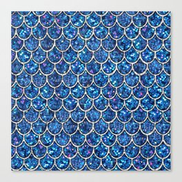 Sparkly Blue & Silver Glitter Mermaid Scales Canvas Print