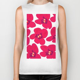 Red Retro Flowers #decor #society6 #buyart Biker Tank