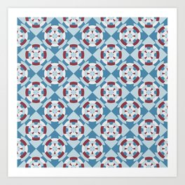 Simple geometric boat helm in blue and red Art Print