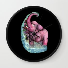 pink elephant Wall Clock