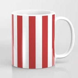 Narrow Vertical Stripes - White and Firebrick Red Coffee Mug