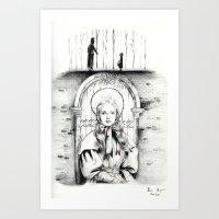 les miserables Art Prints featuring Les Miserables Portrait Series - Cosette by Flávia Marques