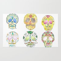 sugar skulls Area & Throw Rugs featuring Sugar Skulls  by Stephanie Eve