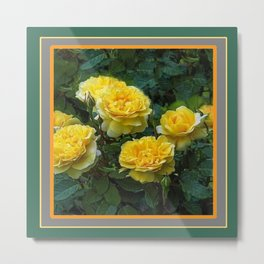 BLOOMING YELLOW SUMMER ROSE GARDEN Metal Print