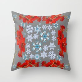 RED AMARYLLIS FLORAL GOLD  GARLAND & SNOWFLAKES  CHRISTMAS ART Throw Pillow
