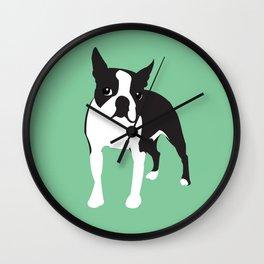 BOSTON TERRIER - Green Wall Clock