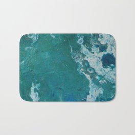 A View From Space, abstract acrylic fluid painting Bath Mat
