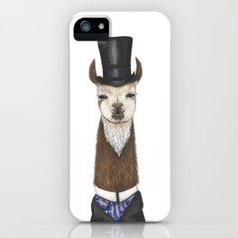 Llama gent in a top hat and duck cravat iPhone Case