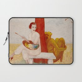 Self-portrait with Palette, Painter and Faun, 1915 by Florine Stettheimer Laptop Sleeve