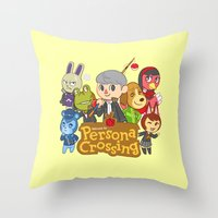 persona 4 Throw Pillows featuring Persona Crossing by Cassie S