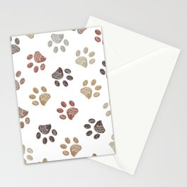 Doodle brown paw print seamless fabric design repeated pattern background Stationery Cards