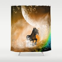 running Shower Curtains featuring Running horse by nicky2342