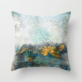 Lapis - Contemporary Abstract Textured Floral Throw Pillow