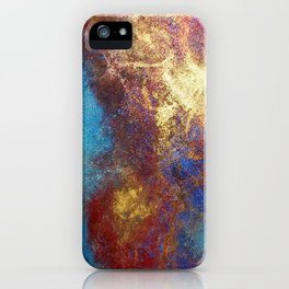 Red, Blue And Gold Modern Abstract Art Painting iPhone Case